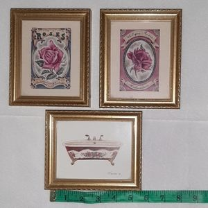 Other - Vintage style wall art framed art trio
